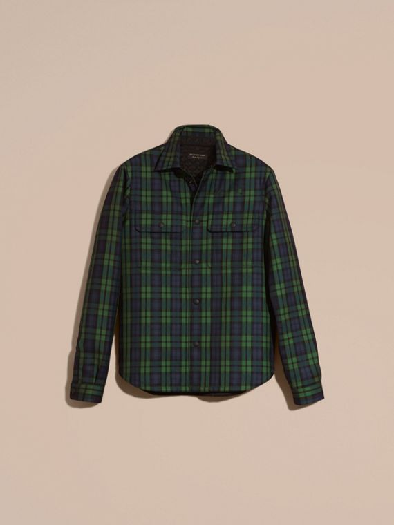 Dark forest green Tartan Wool Wadded Shirt - cell image 3