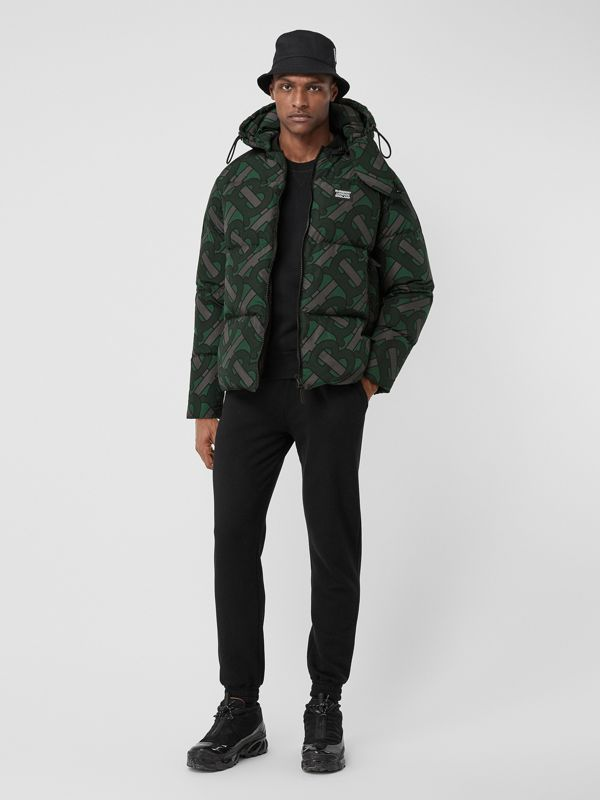 Monogram Print Puffer Jacket in Forest Green | Burberry - cell image 3