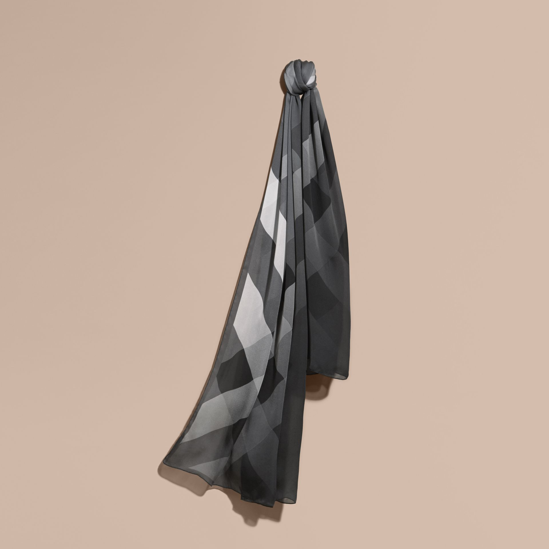 Ombré Washed Check Silk Scarf Mid Grey - gallery image 1