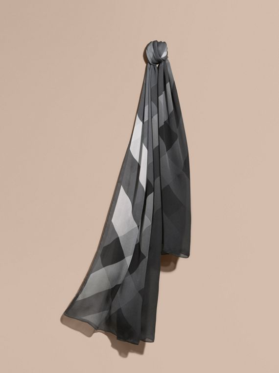 Ombré Washed Check Silk Scarf Mid Grey