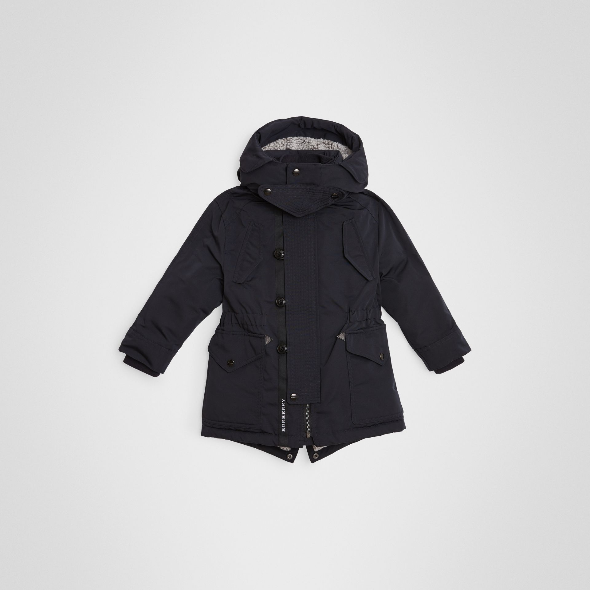 Detachable Hood Down-filled Parka Coat in Navy | Burberry - gallery image 0