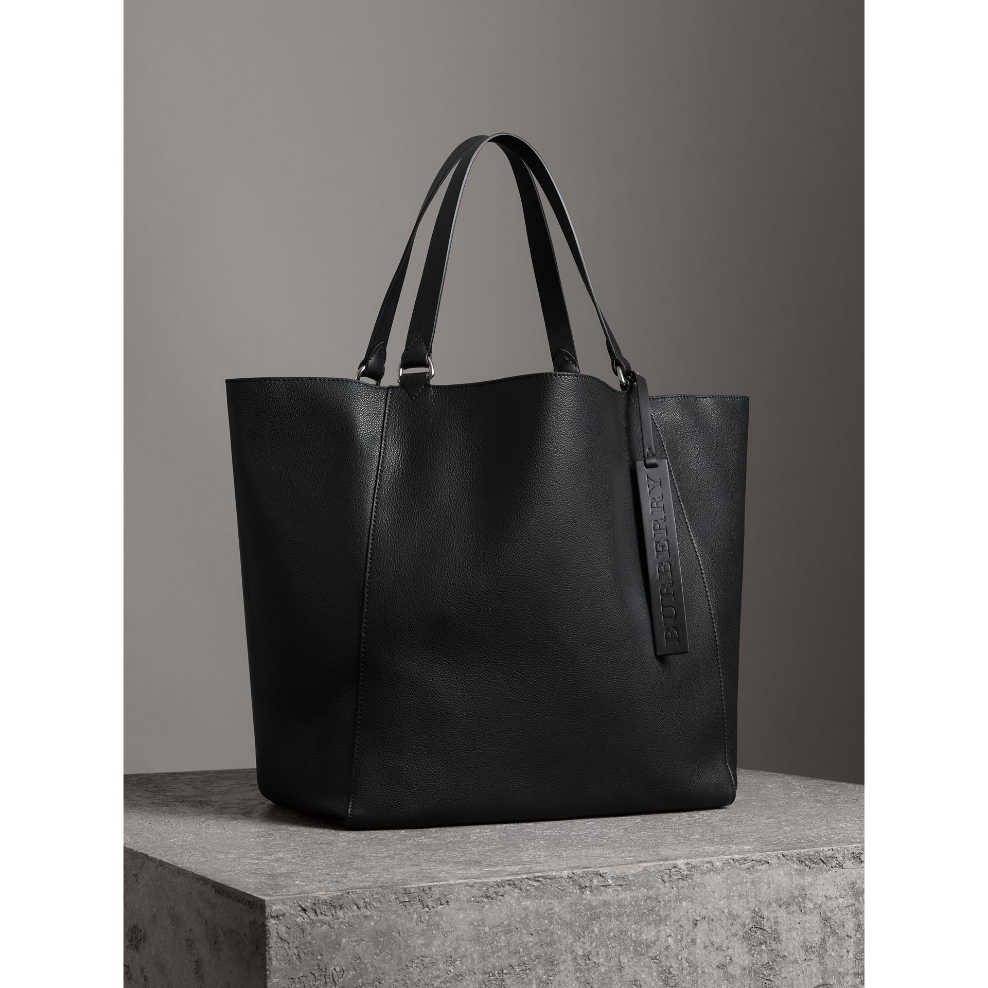 Large Bonded Leather Tote in Black | Burberry - gallery image 7