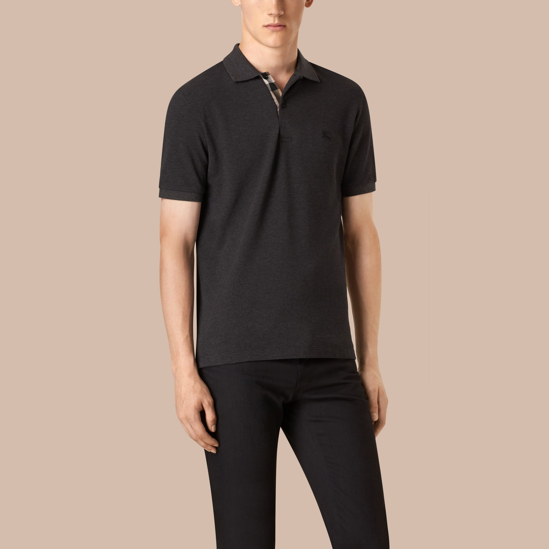 Dark charcoal melange Check Placket Cotton Piqué Polo Shirt Dark Charcoal Melange - gallery image 3