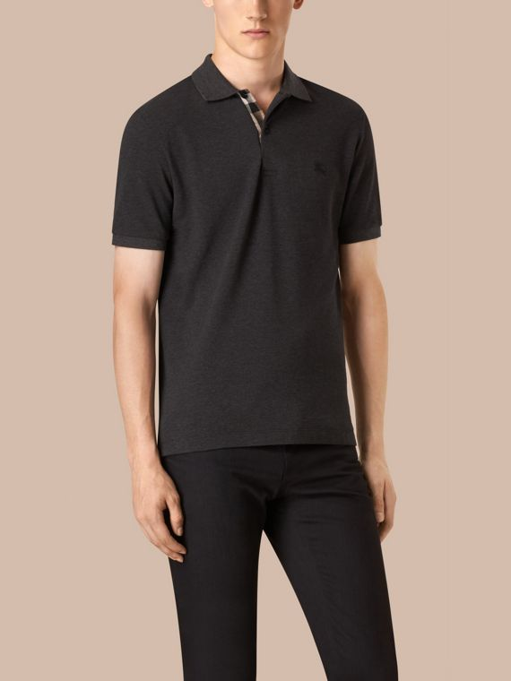 Dark charcoal melange Check Placket Cotton Piqué Polo Shirt Dark Charcoal Melange - cell image 2