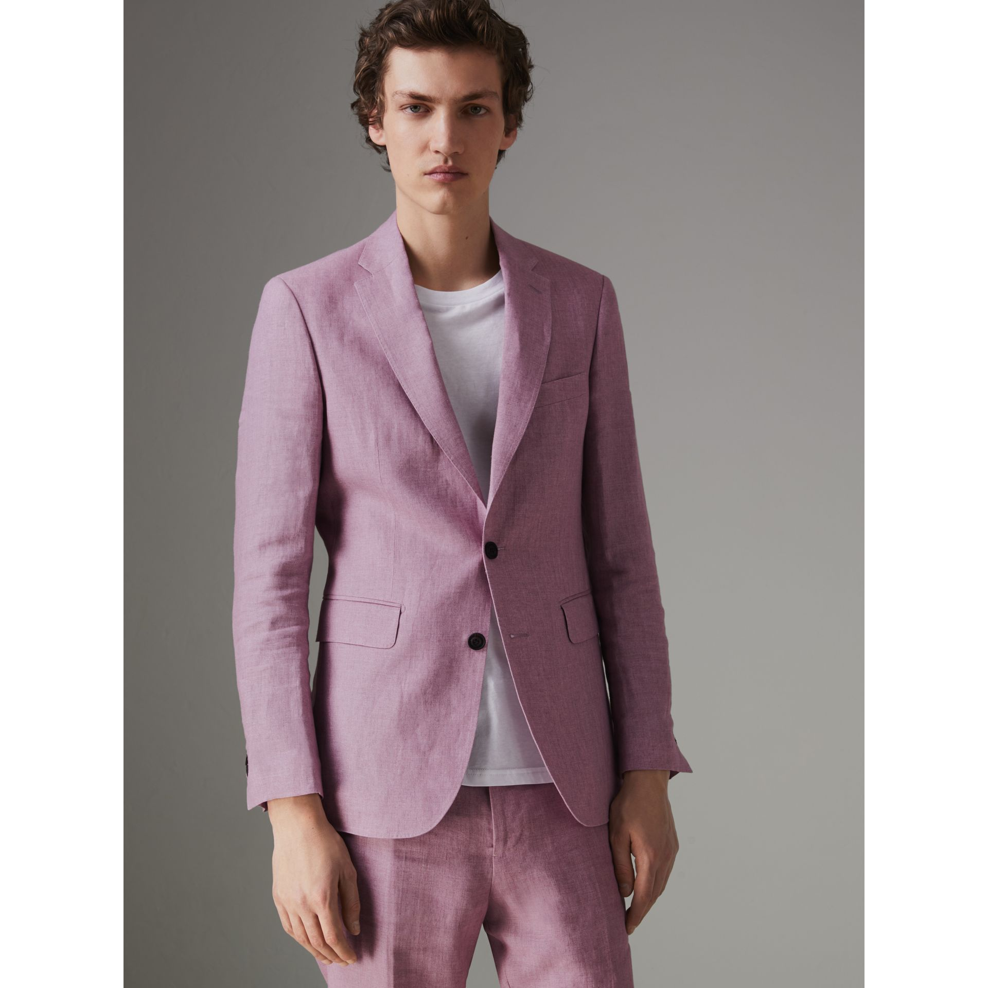 Soho Fit Linen Tailored Jacket in Pink Heather - Men | Burberry - gallery image 5