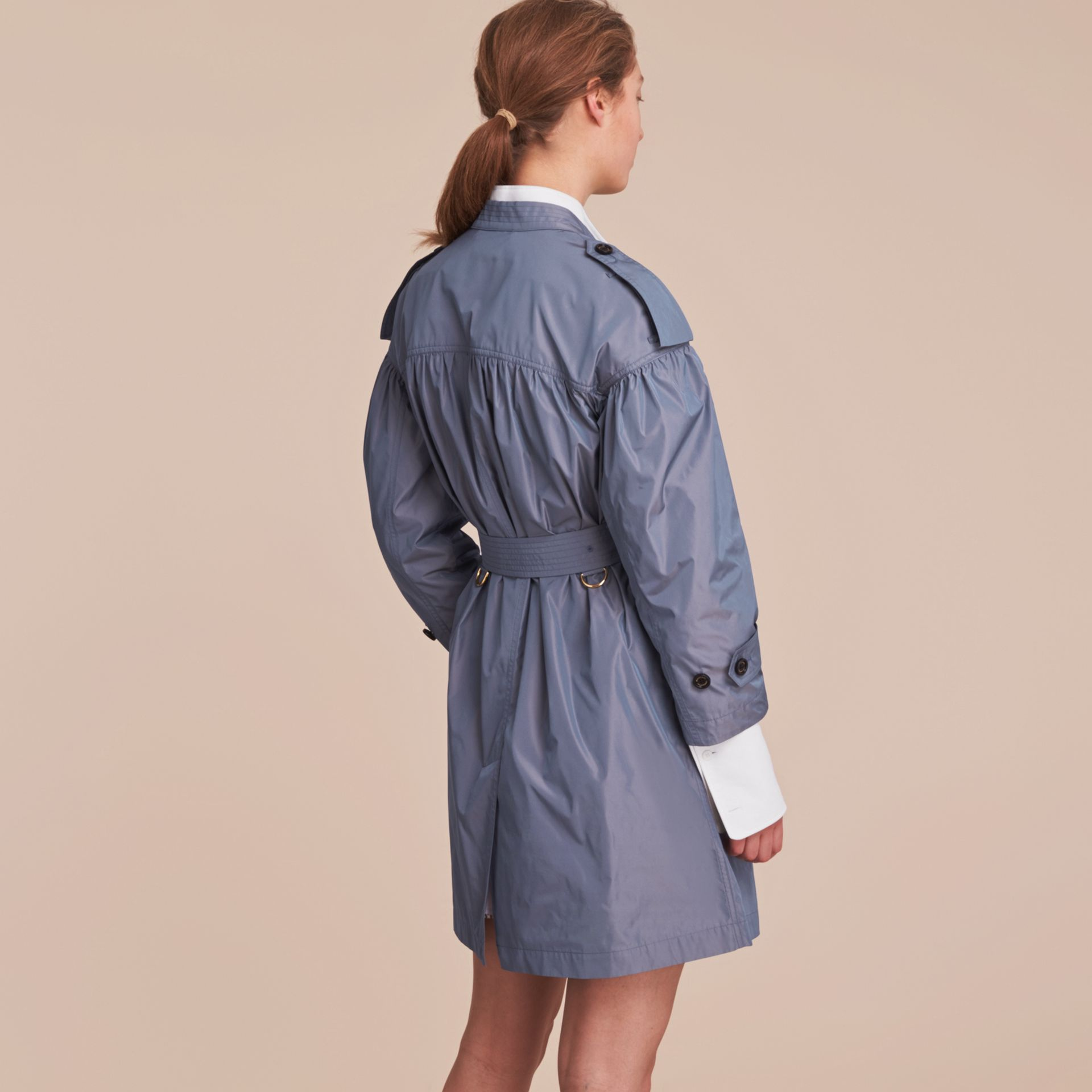 Lightweight Ruched Coat in Stone Blue - gallery image 3