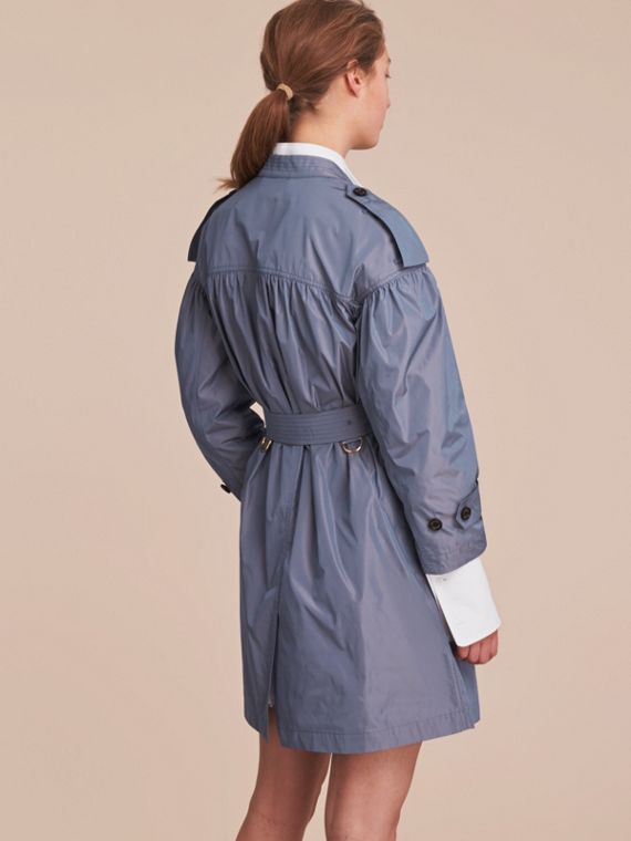Lightweight Ruched Coat in Stone Blue - cell image 2