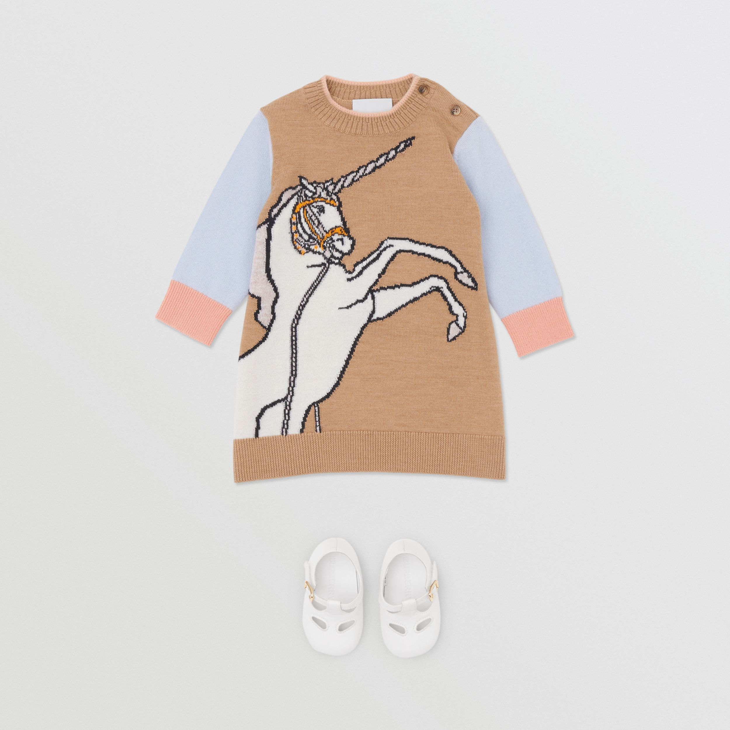 Unicorn Intarsia Wool Cashmere Dress in Camel - Children | Burberry - 3