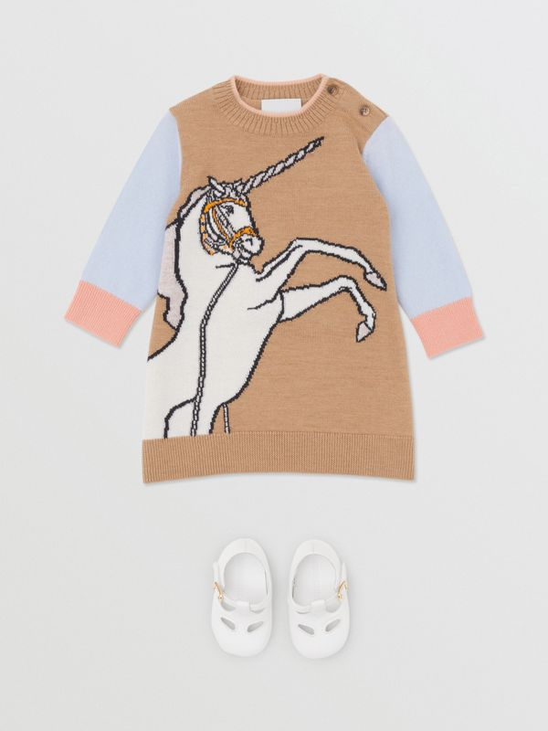 Unicorn Intarsia Wool Cashmere Dress in Camel - Children   Burberry United Kingdom - cell image 2