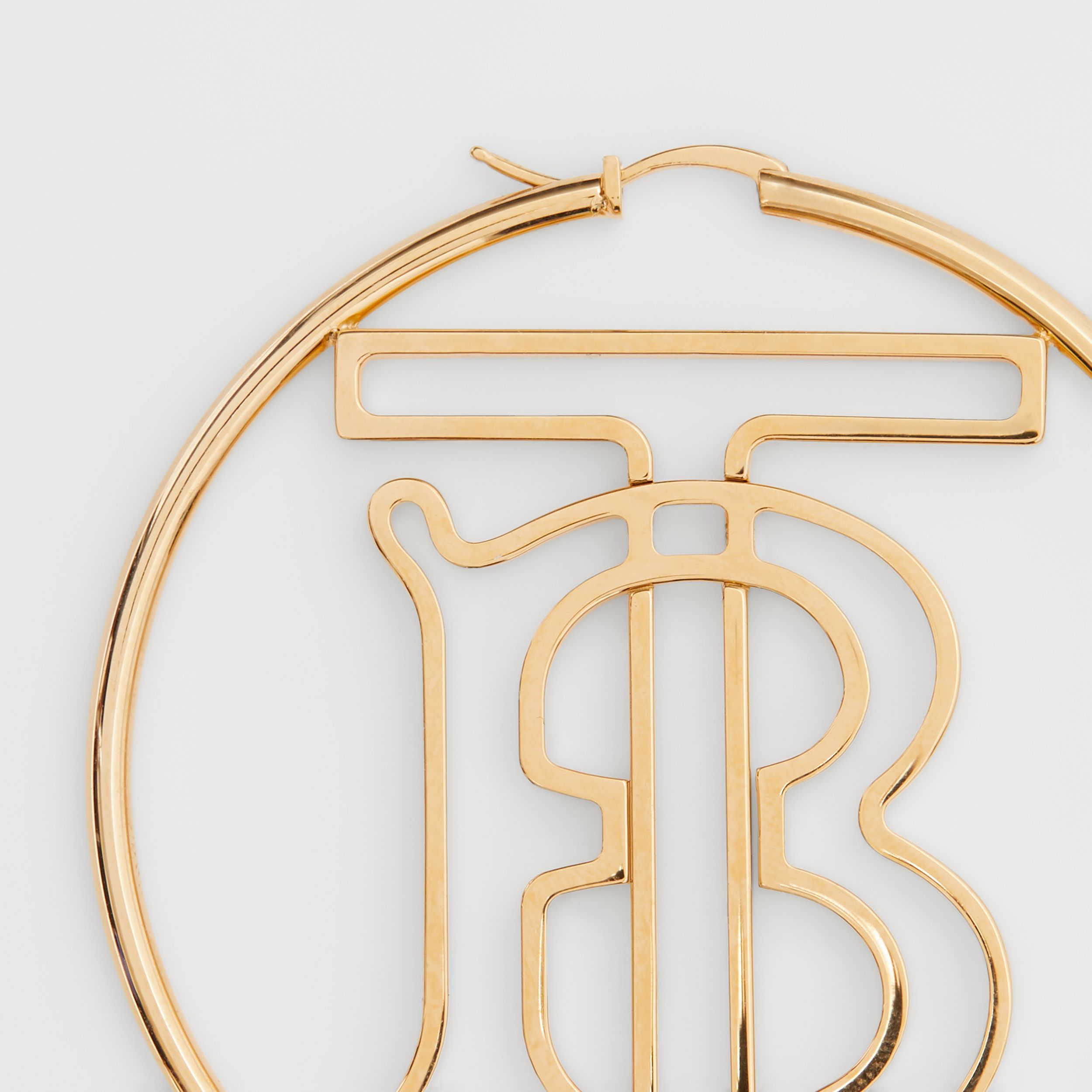Gold-plated Monogram Motif Hoop Earrings in Light - Women | Burberry Hong Kong S.A.R. - 2