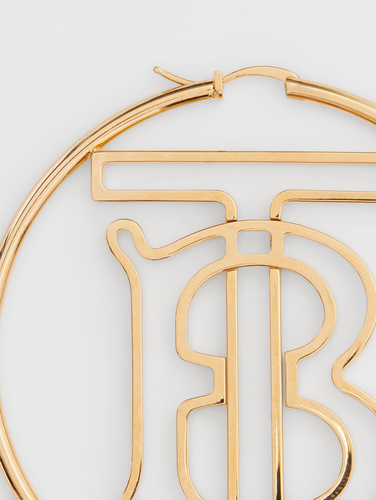 Gold-plated Monogram Motif Hoop Earrings in Light
