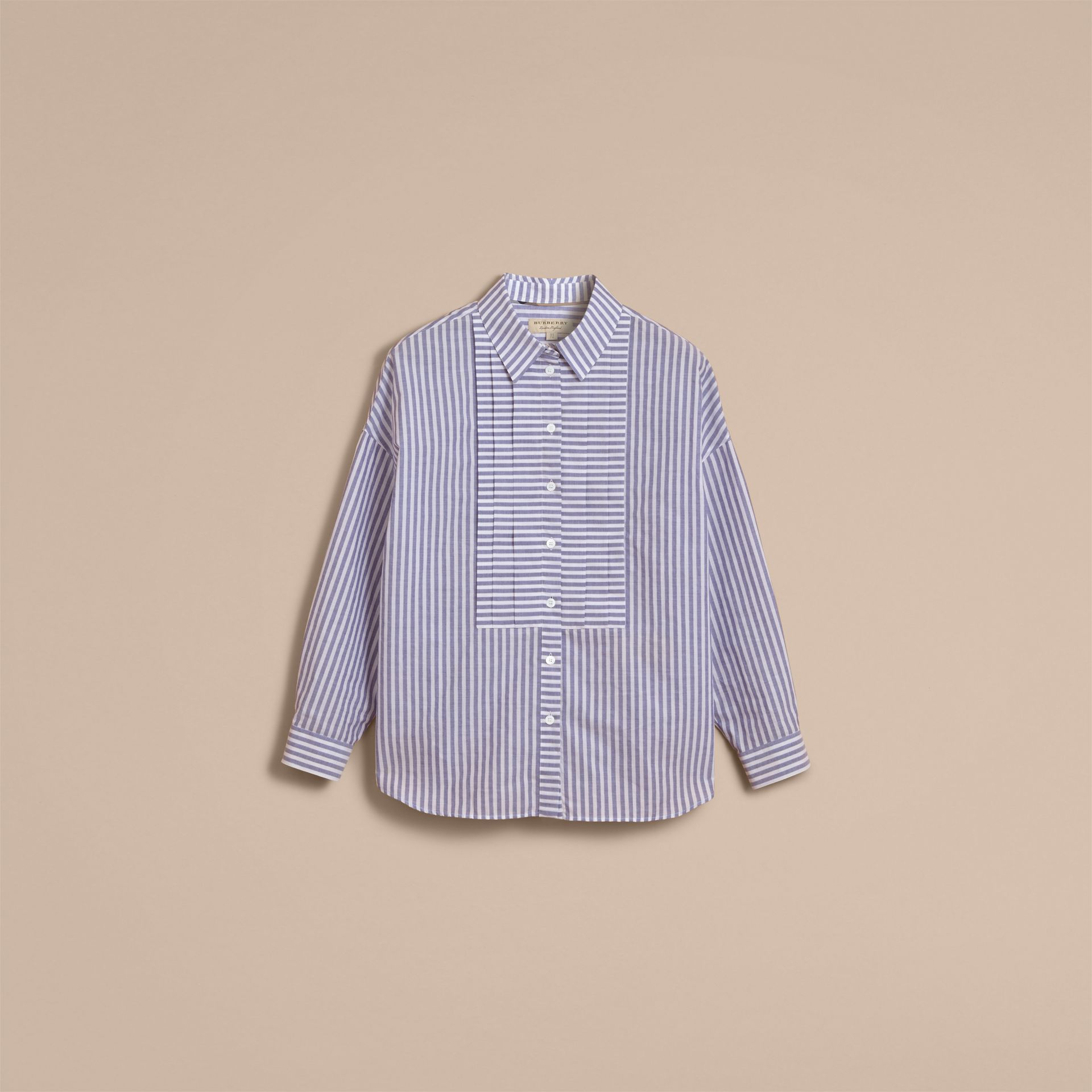 Pleated Bib Striped Cotton Shirt - gallery image 4