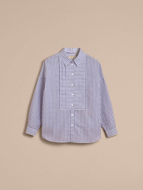 Pleated Bib Striped Cotton Shirt - cell image 3