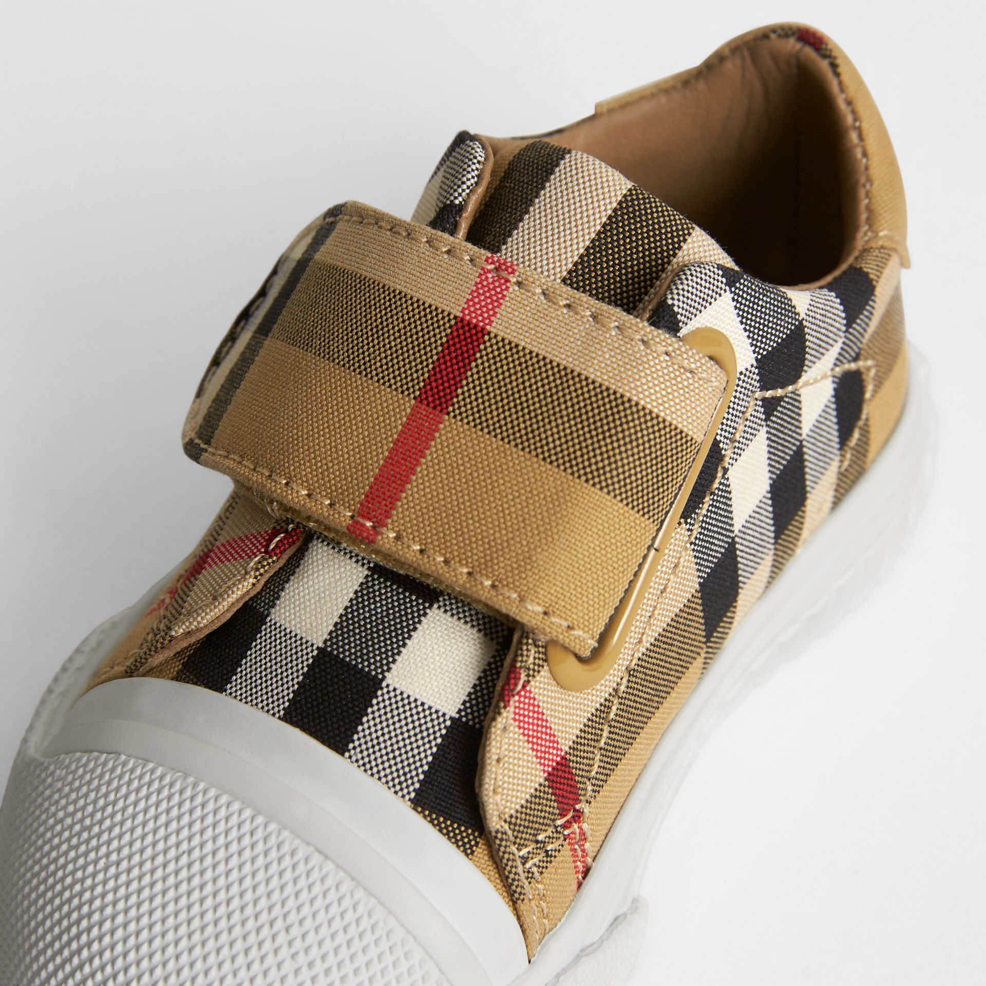 Vintage Check and Leather Sneakers in Antique Yellow/optic White - Children | Burberry United Kingdom - gallery image 1
