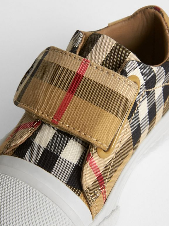 Vintage Check and Leather Sneakers in Antique Yellow/optic White - Children | Burberry United Kingdom - cell image 1