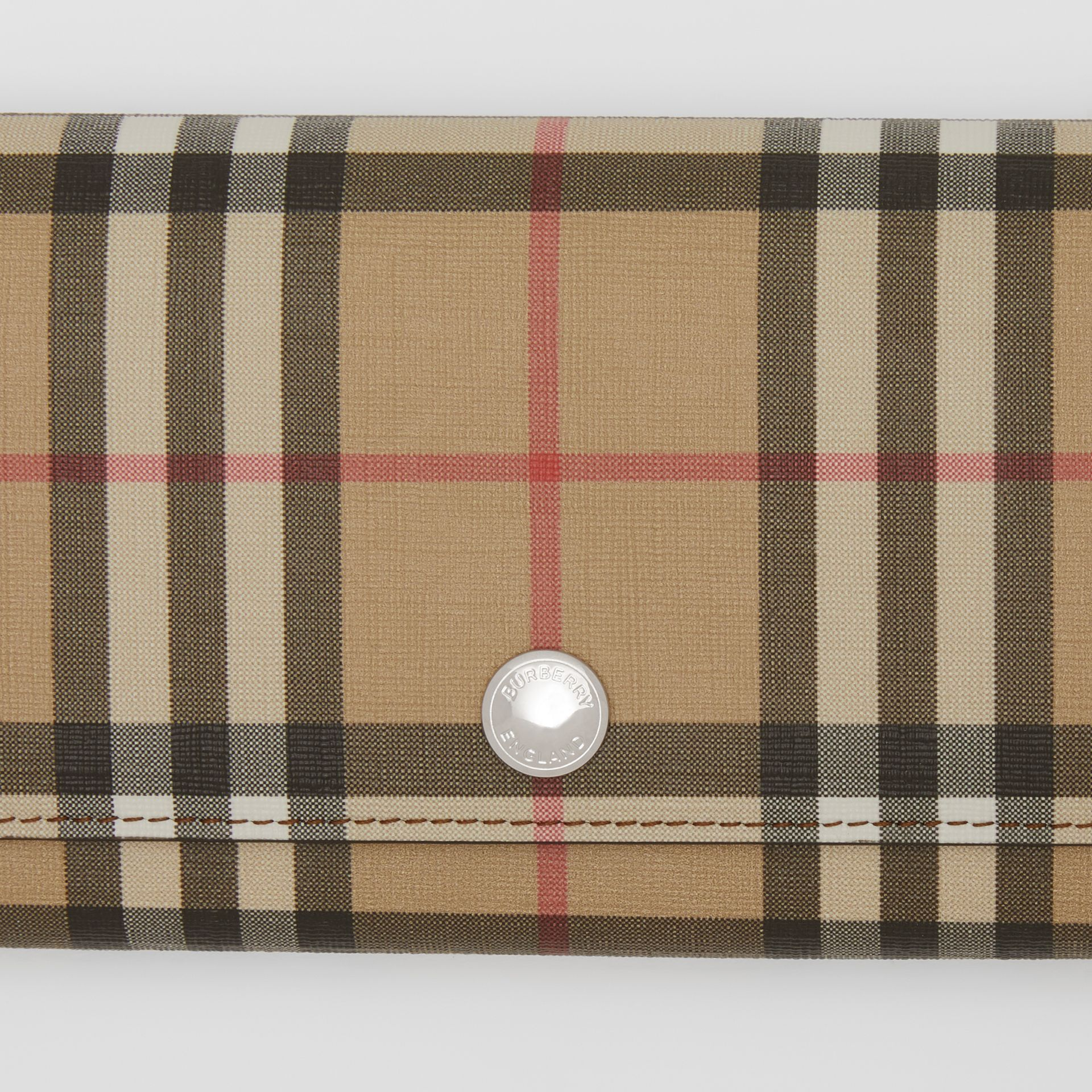 Vintage Check E-canvas Continental Wallet in Malt Brown - Women | Burberry - gallery image 1