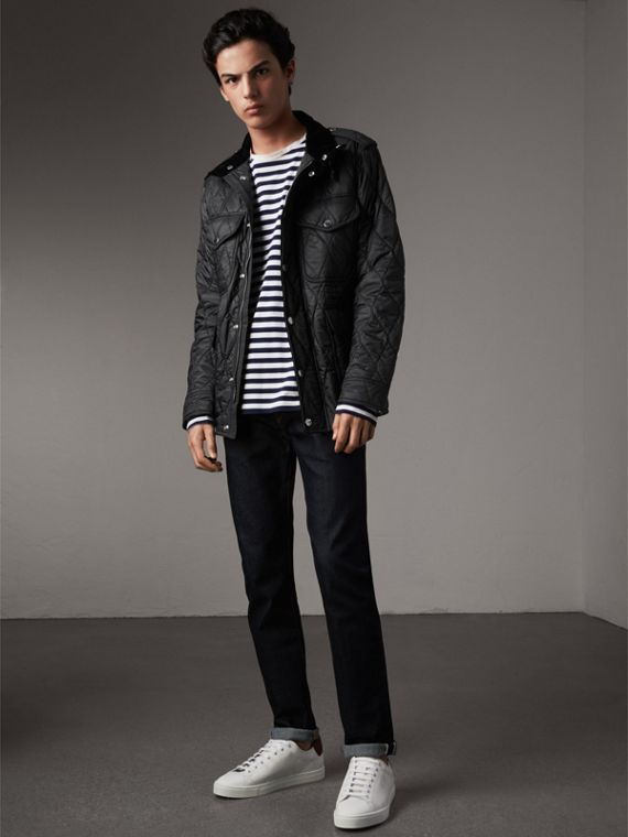 Diamond Quilted Field Jacket in Black - Men | Burberry Canada - cell image 3