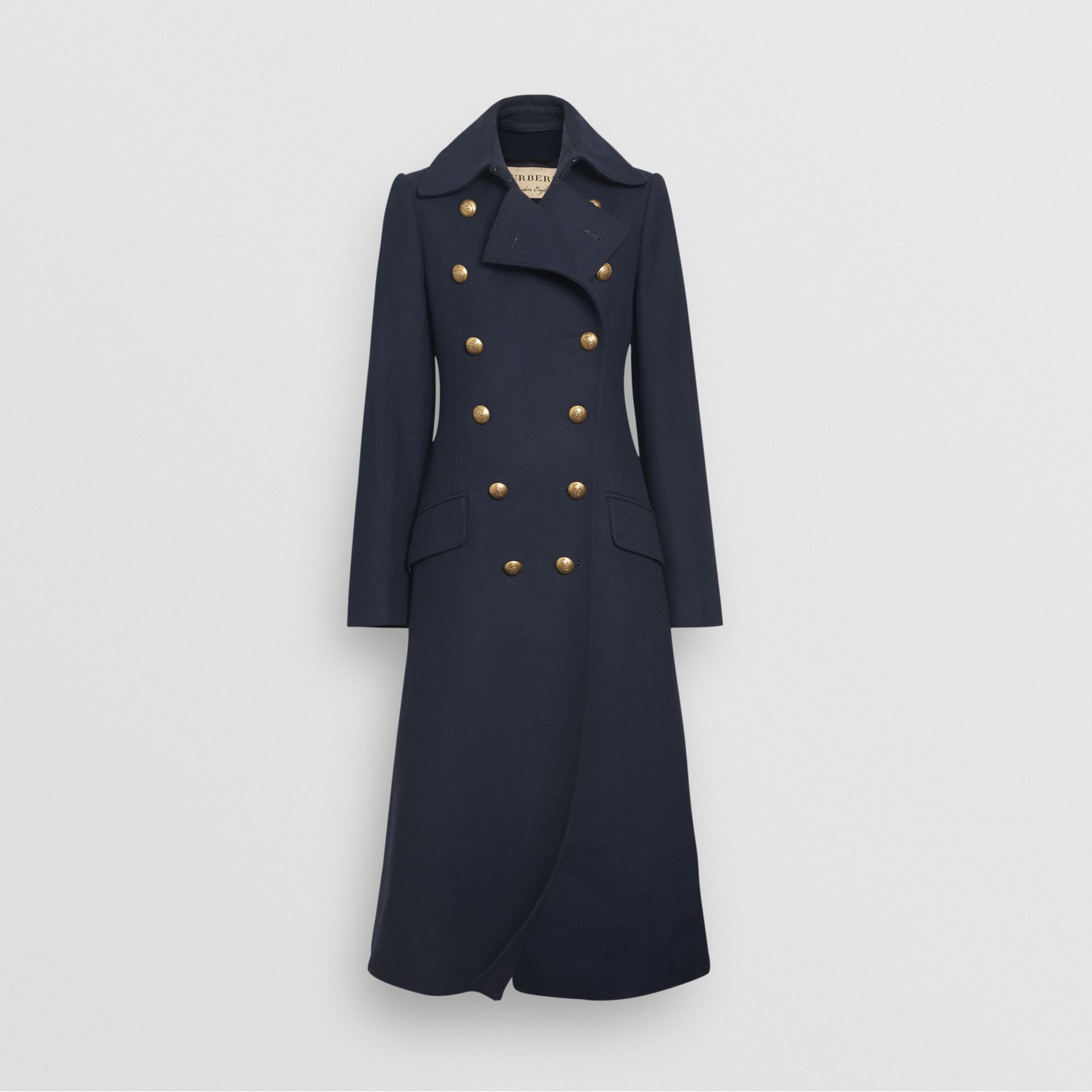 Double-breasted Wool Cashmere Blend Tailored Coat in Navy - Women | Burberry - gallery image 3