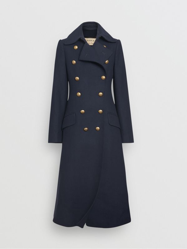 Double-breasted Wool Cashmere Blend Tailored Coat in Navy - Women | Burberry - cell image 3