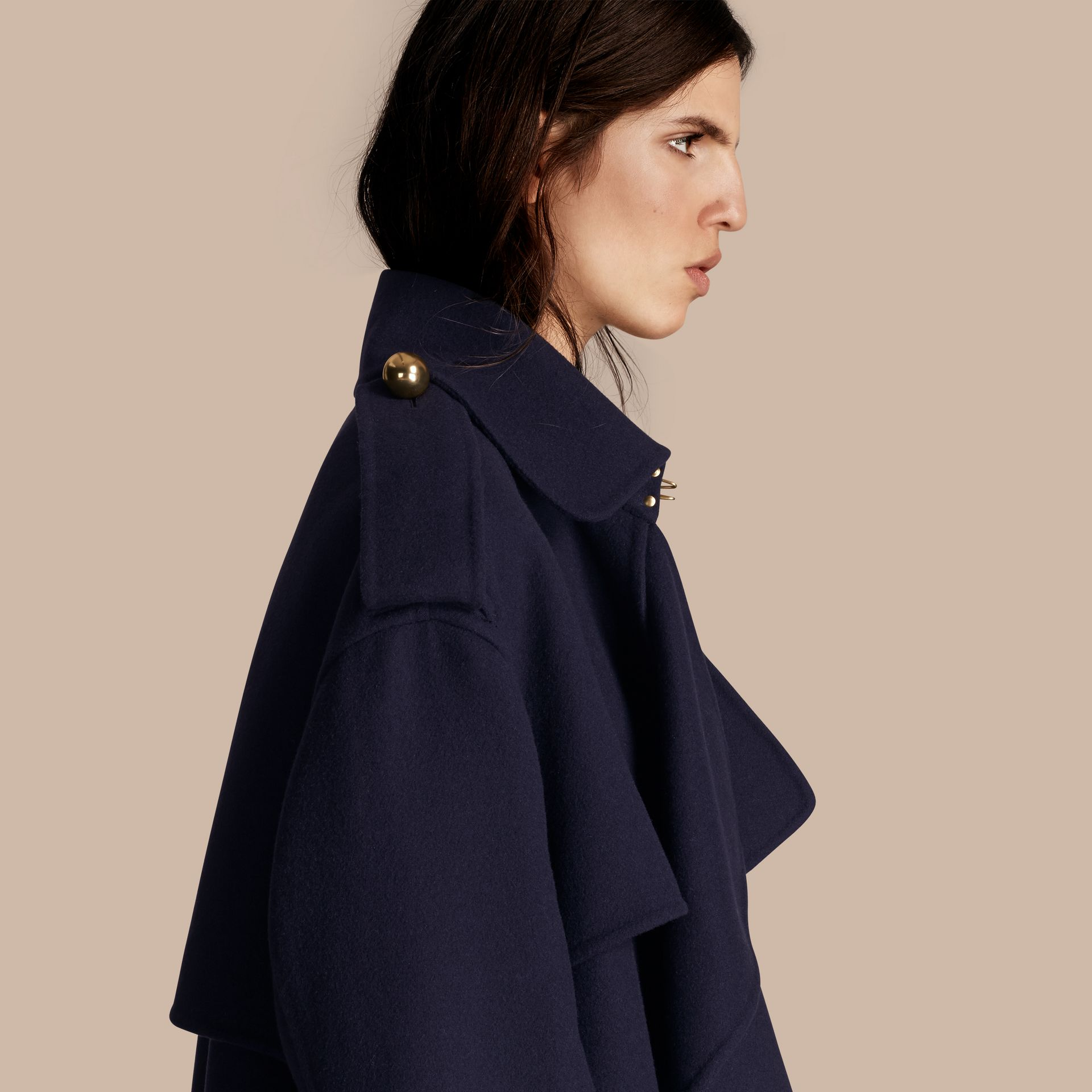 Navy Cashmere Wool Deconstructed Cropped Trench Coat - gallery image 5