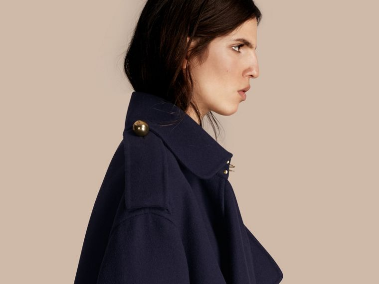 Navy Cashmere Wool Deconstructed Cropped Trench Coat - cell image 4