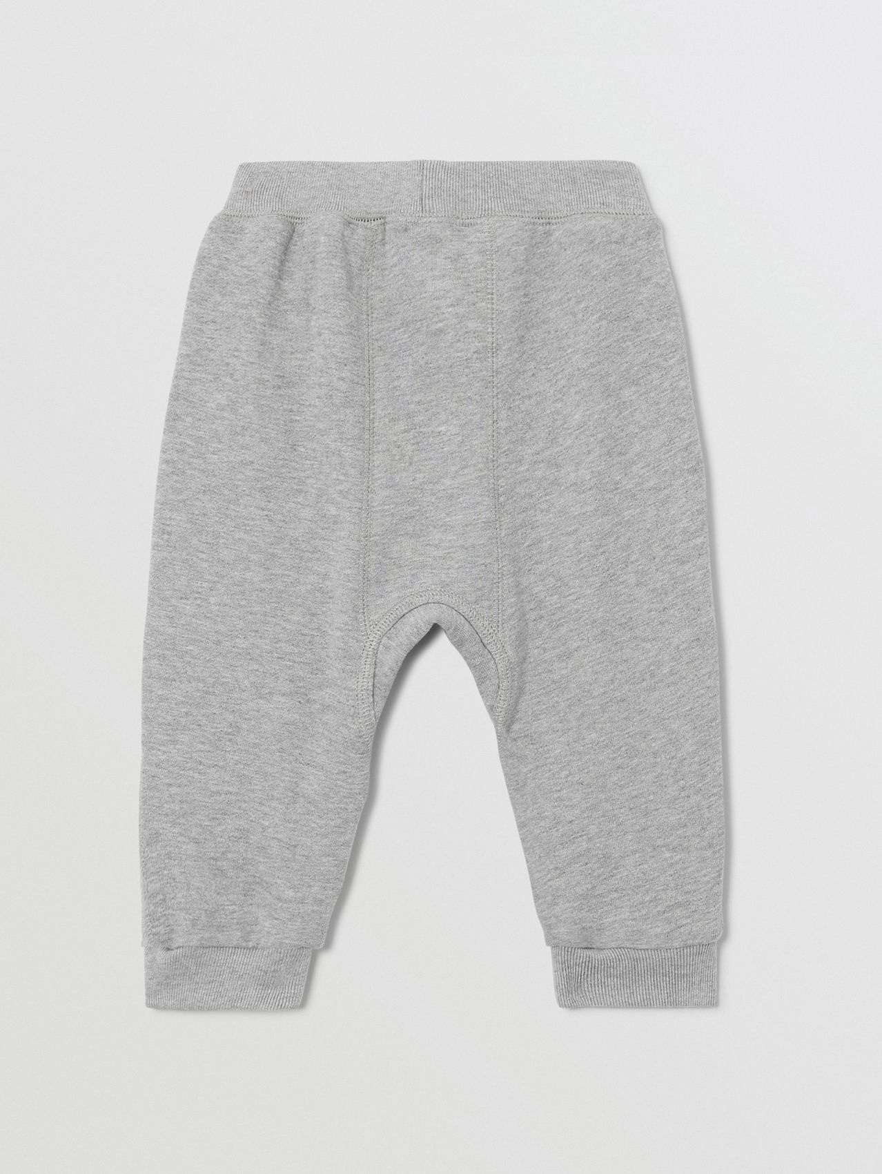 Diamond Quilted Detail Cotton Trackpants in Grey Melange