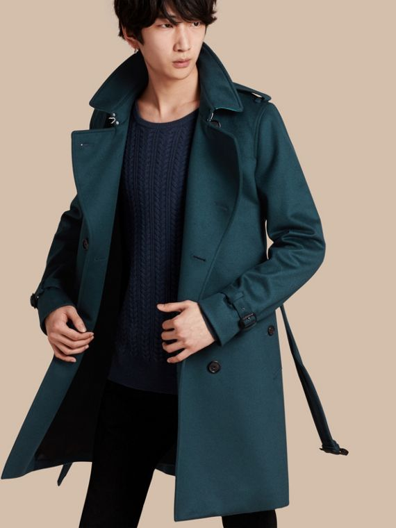 Trench coat in cashmere Blu Minerale Scuro