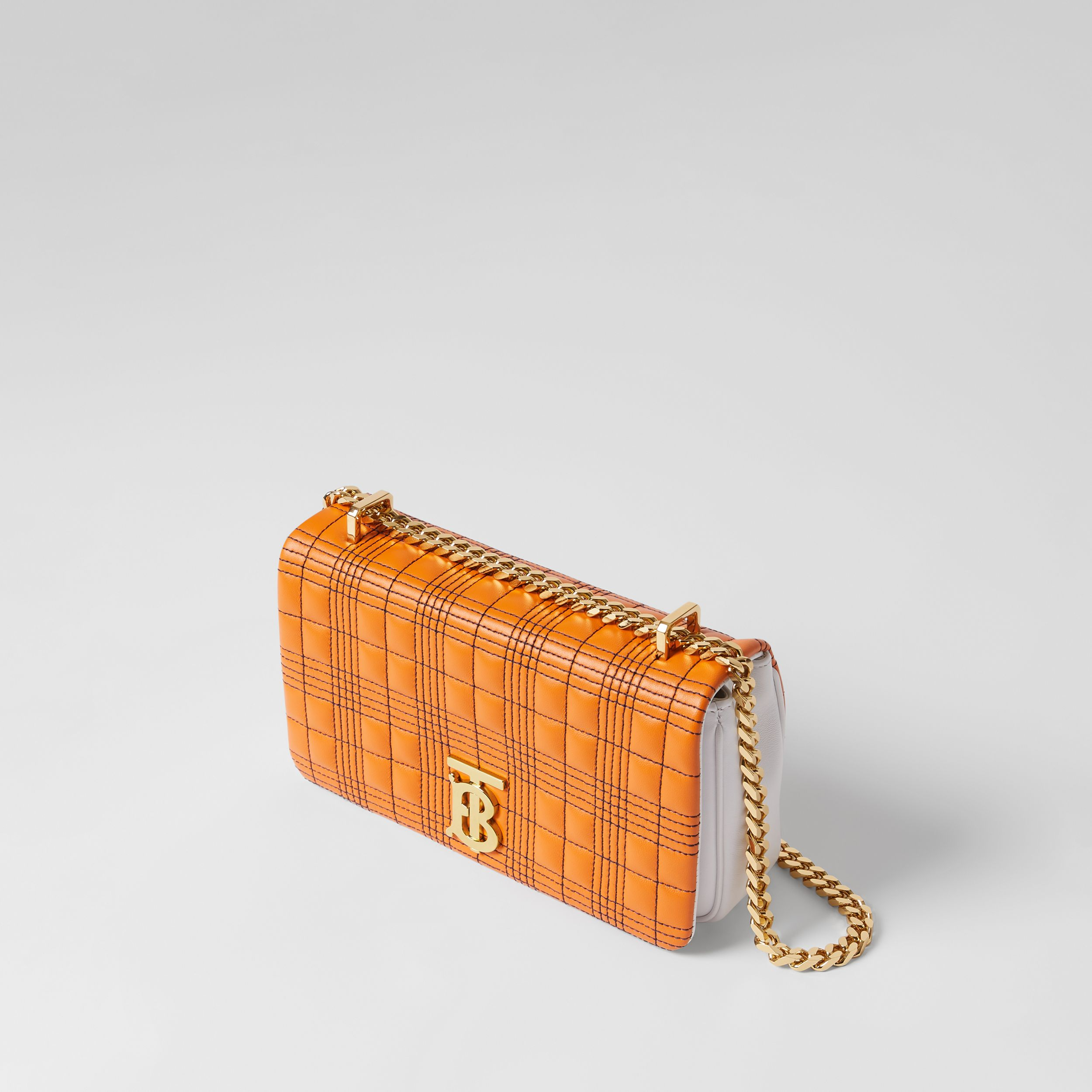 Small Quilted Tri-tone Lambskin Lola Bag in Orange/white - Women | Burberry - 4