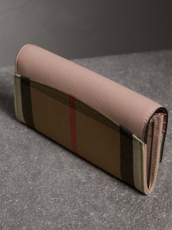 House Check And Leather Continental Wallet in Pale Orchid - Women | Burberry United Kingdom - cell image 2