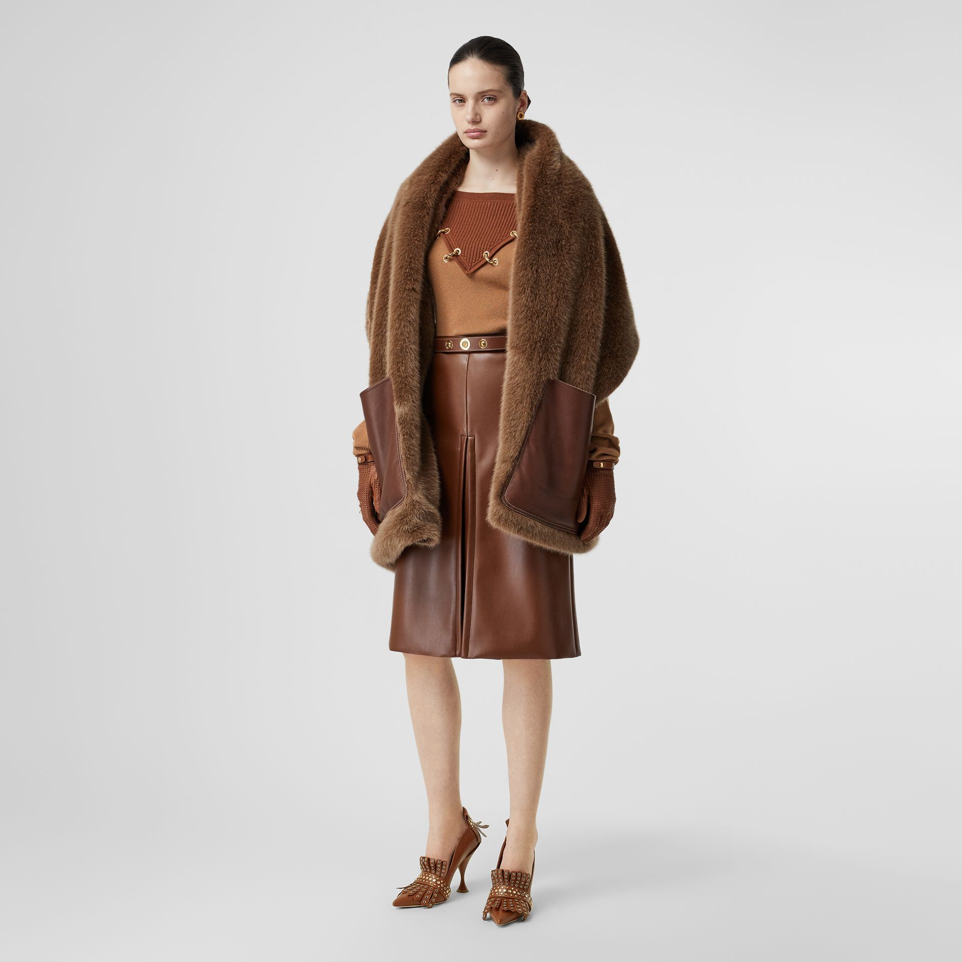 Faux Fur and Cashmere Stole in Camel - Women | Burberry - gallery image 0