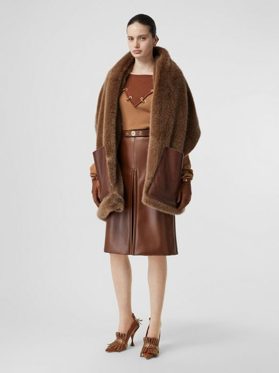 Faux Fur and Cashmere Stole in Camel