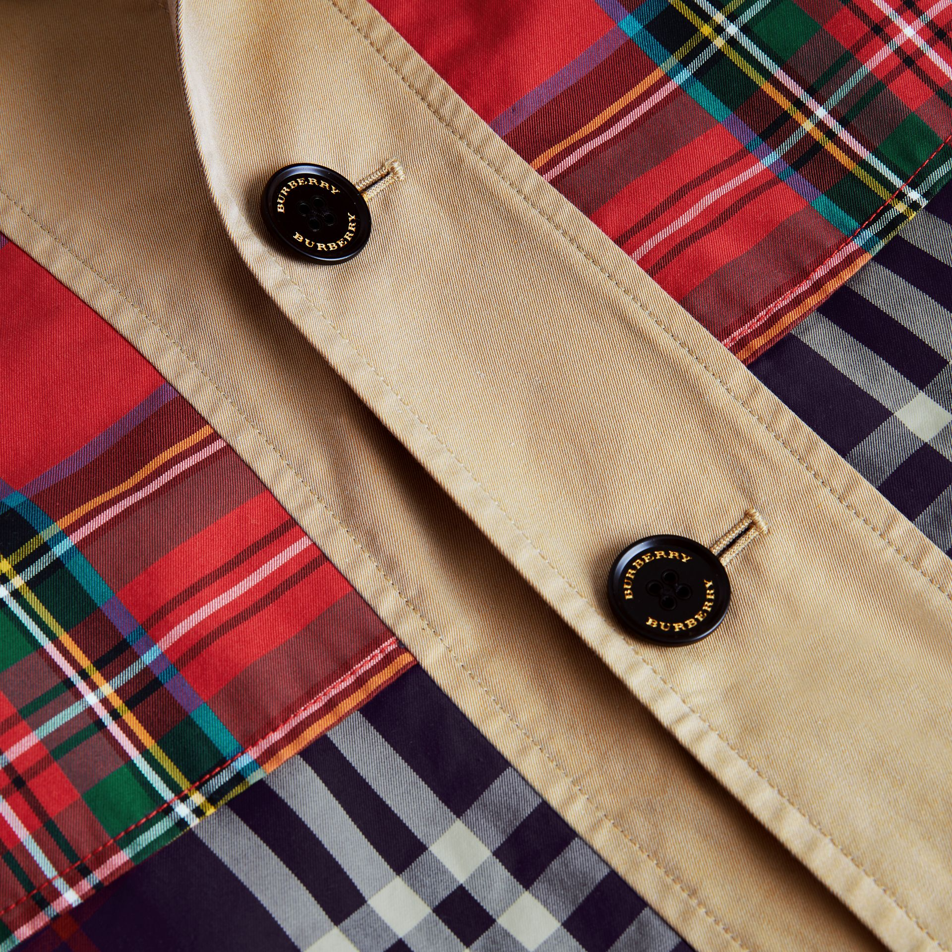 Tartan and Check Tropical Gabardine Coat in Navy | Burberry - gallery image 4