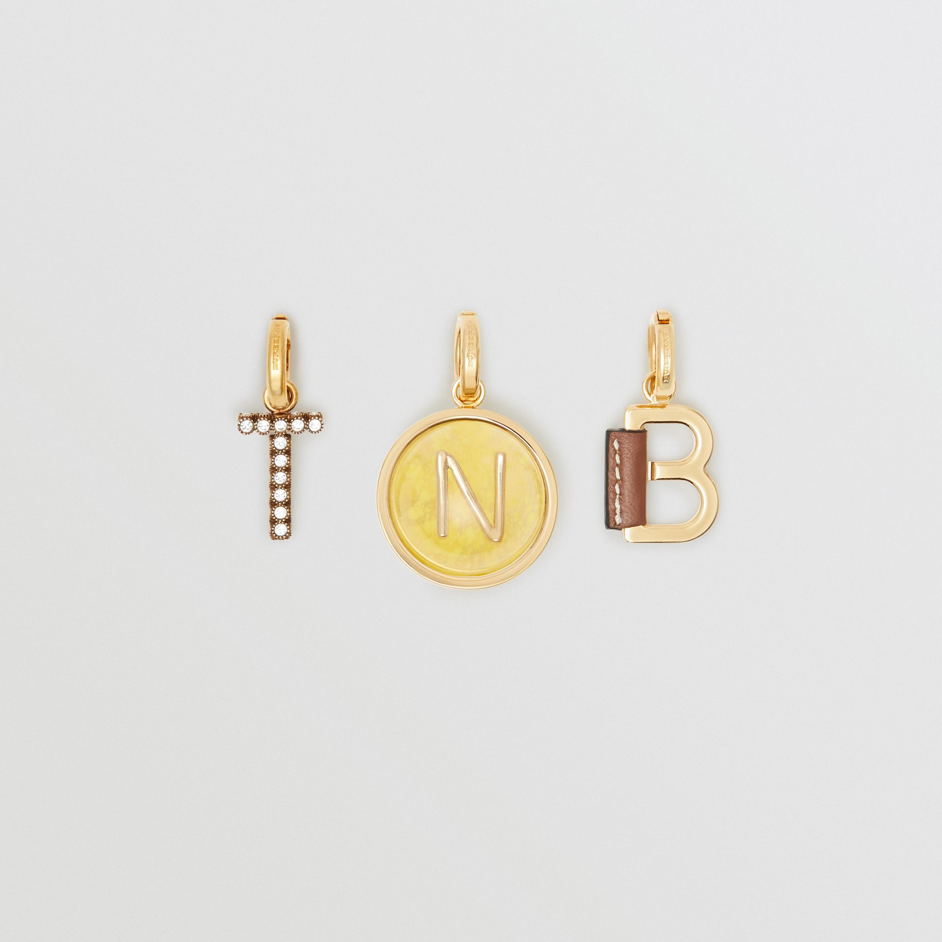 Leather-wrapped 'T' Alphabet Charm in Light Gold/tan - Women | Burberry - gallery image 1
