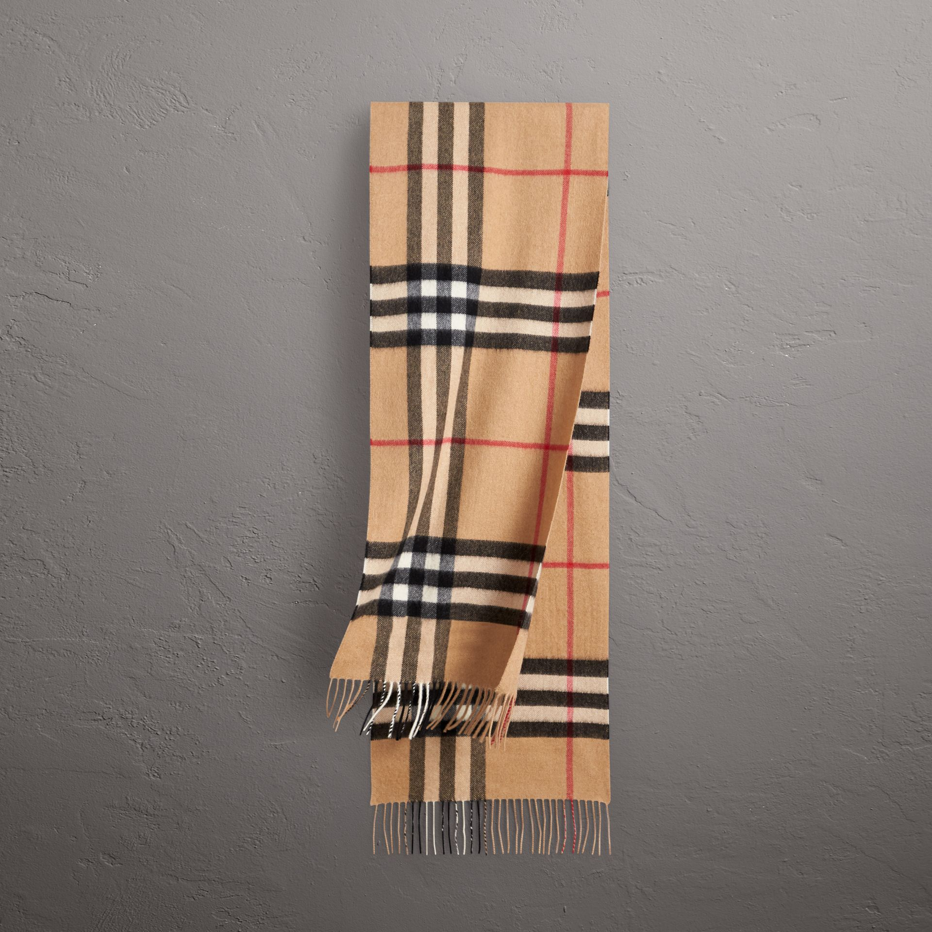 The Classic Check Cashmere Scarf in Camel | Burberry - gallery image 0