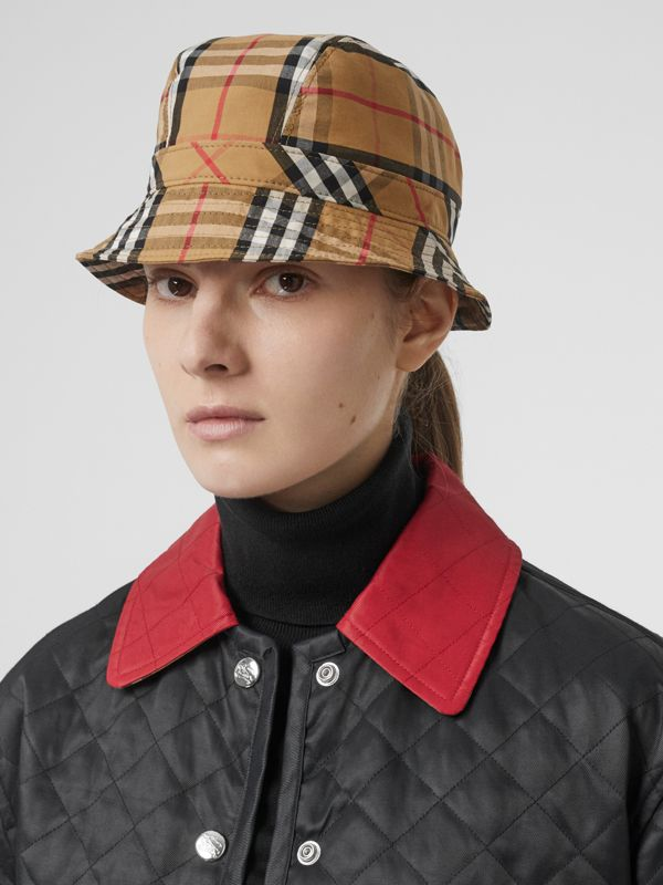 Vintage Check Cotton Bucket Hat in Antique Yellow | Burberry - cell image 2