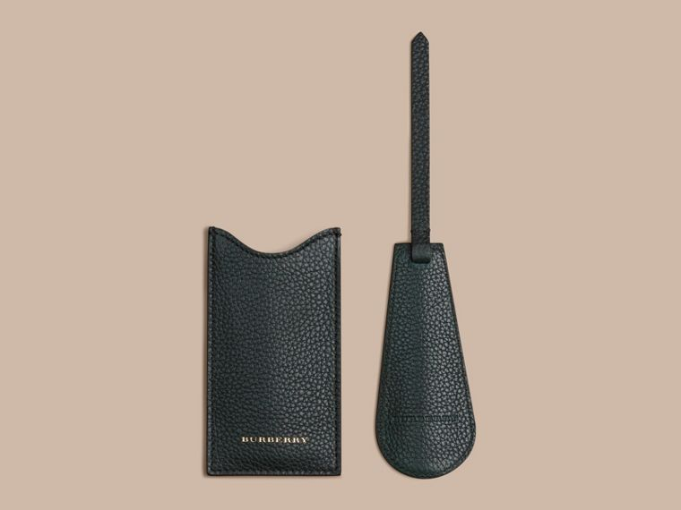 Leather Shoe Horn in Dark Forest Green - Men | Burberry - cell image 1