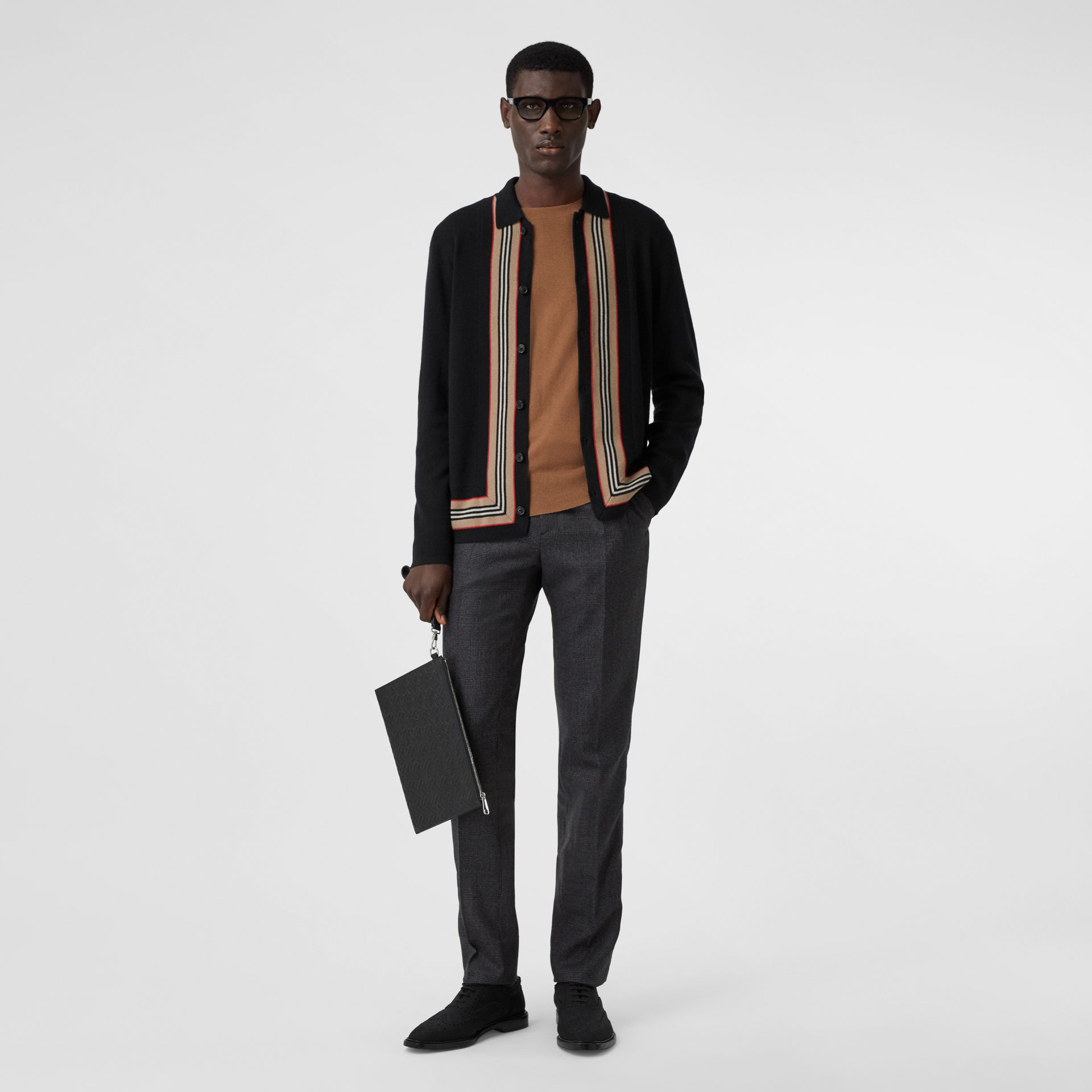 Icon Stripe Trim Wool Cashmere Cardigan in Black - Men | Burberry - gallery image 0