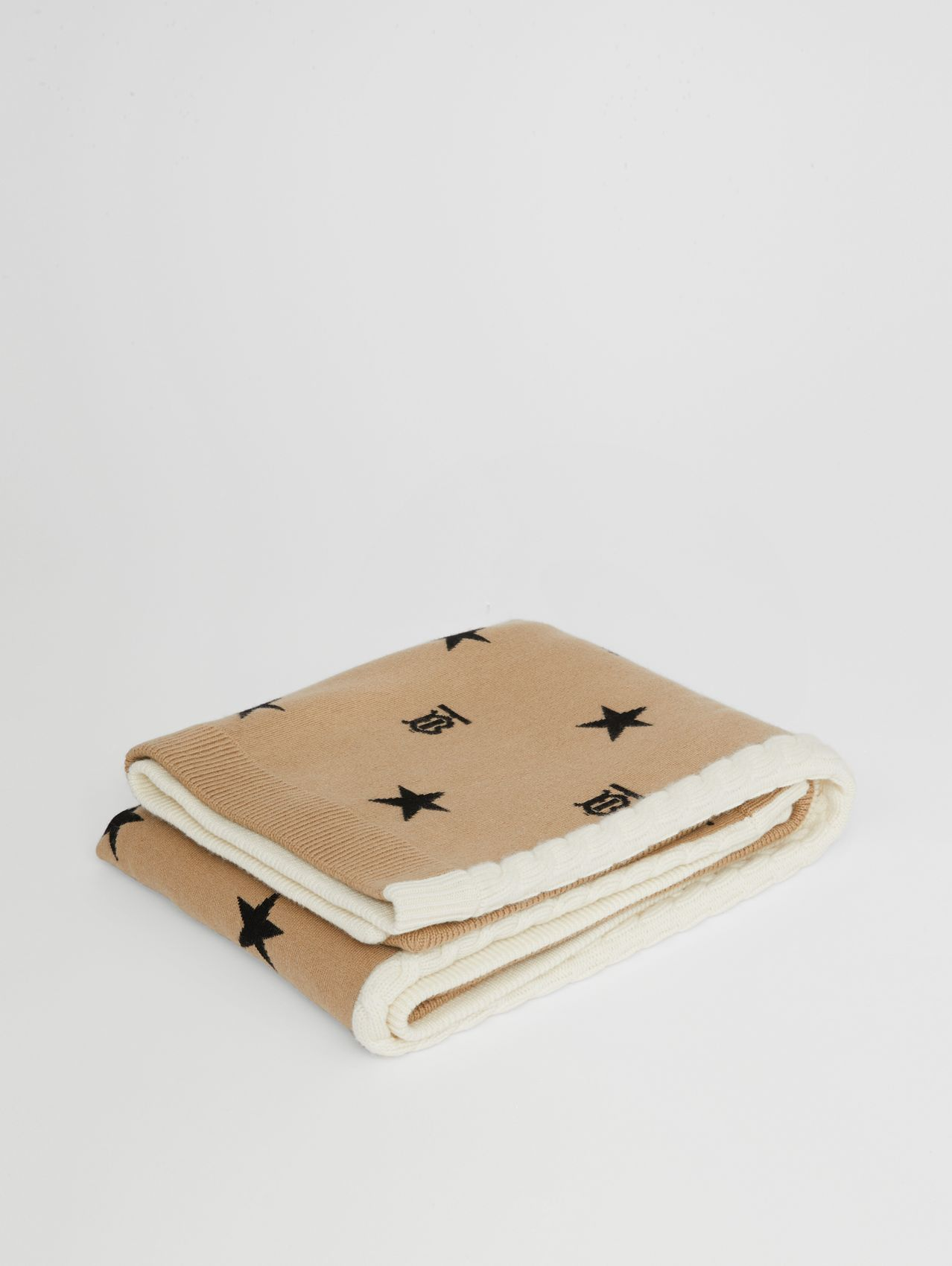 Star and Monogram Wool Cashmere Baby Blanket in Archive Beige