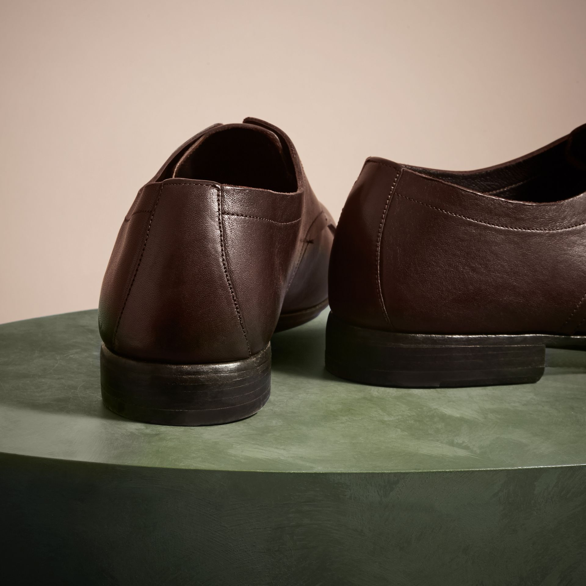 Ebony Washed Leather Derby Shoes - gallery image 4