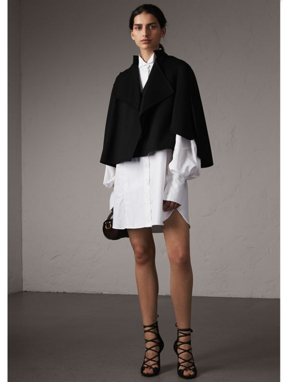 Curved Hem Wool Cashmere Cape