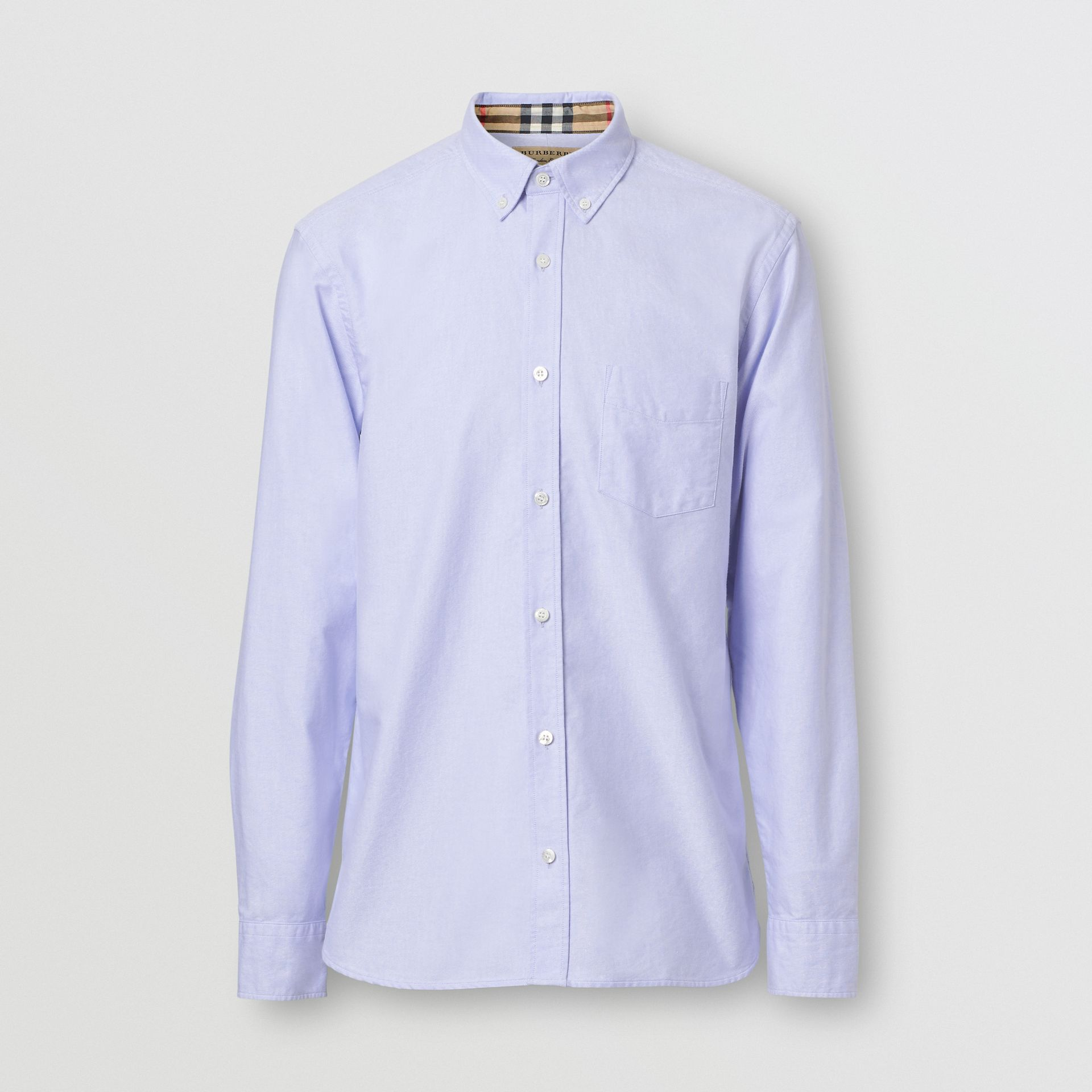 Button-down Collar Cotton Oxford Shirt in Cornflower Blue - Men | Burberry United Kingdom - gallery image 3