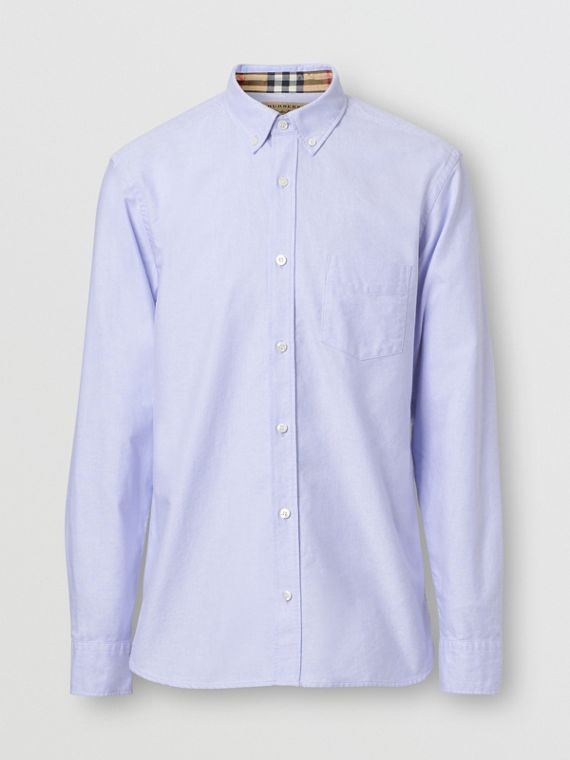 Button-down Collar Cotton Oxford Shirt in Cornflower Blue