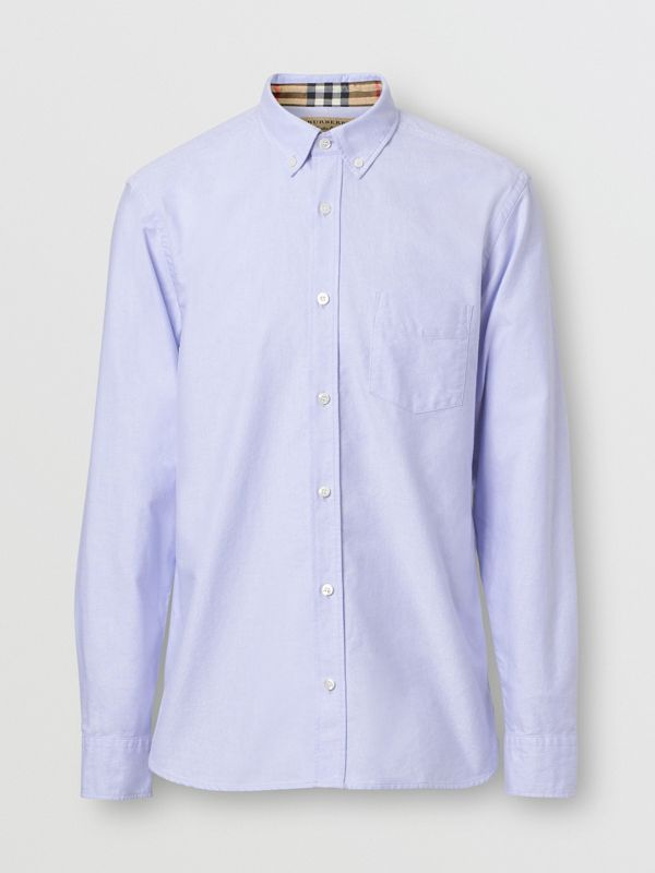Button-down Collar Cotton Oxford Shirt in Cornflower Blue - Men | Burberry United Kingdom - cell image 3