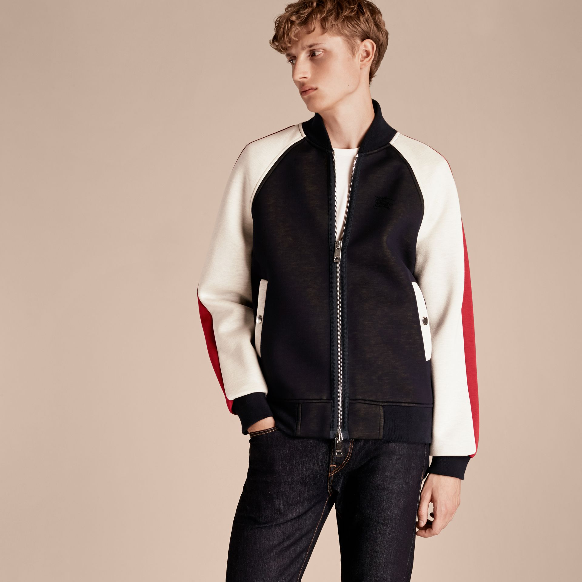 Panelled Jersey Bomber Jacket - Men | Burberry Singapore - gallery image 6