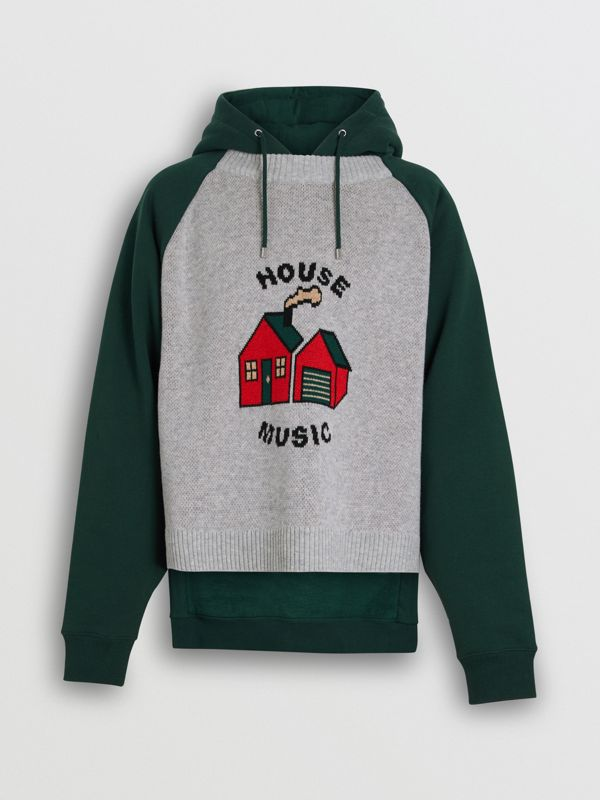 House Music Intarsia Jersey Hoodie in Forest Green - Men | Burberry - cell image 3