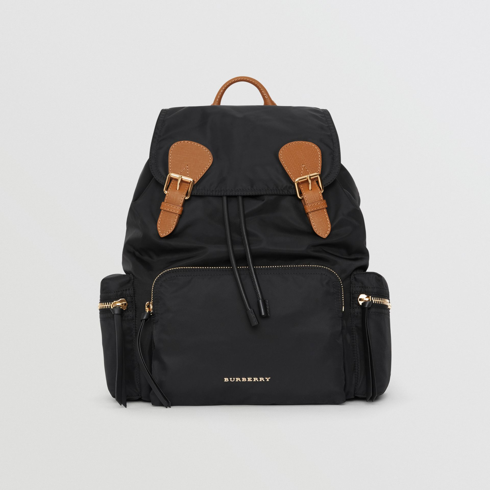 The Large Rucksack in Technical Nylon and Leather in Black - Women | Burberry Australia - gallery image 0