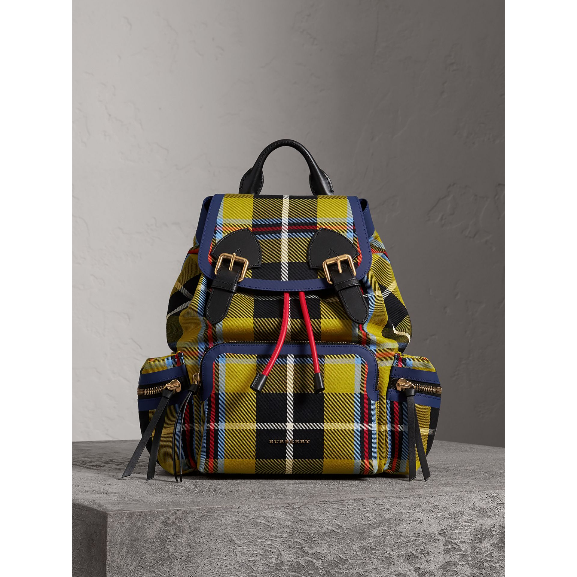 The Medium Rucksack in Tartan and Vintage Check in Flax Yellow - Women | Burberry Australia - gallery image 4