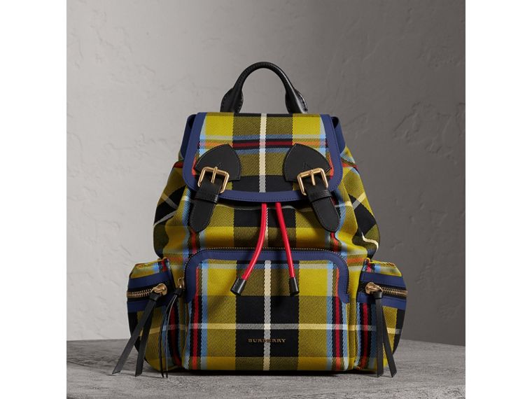 The Medium Rucksack in Tartan and Vintage Check in Flax Yellow - Women | Burberry Australia - cell image 4