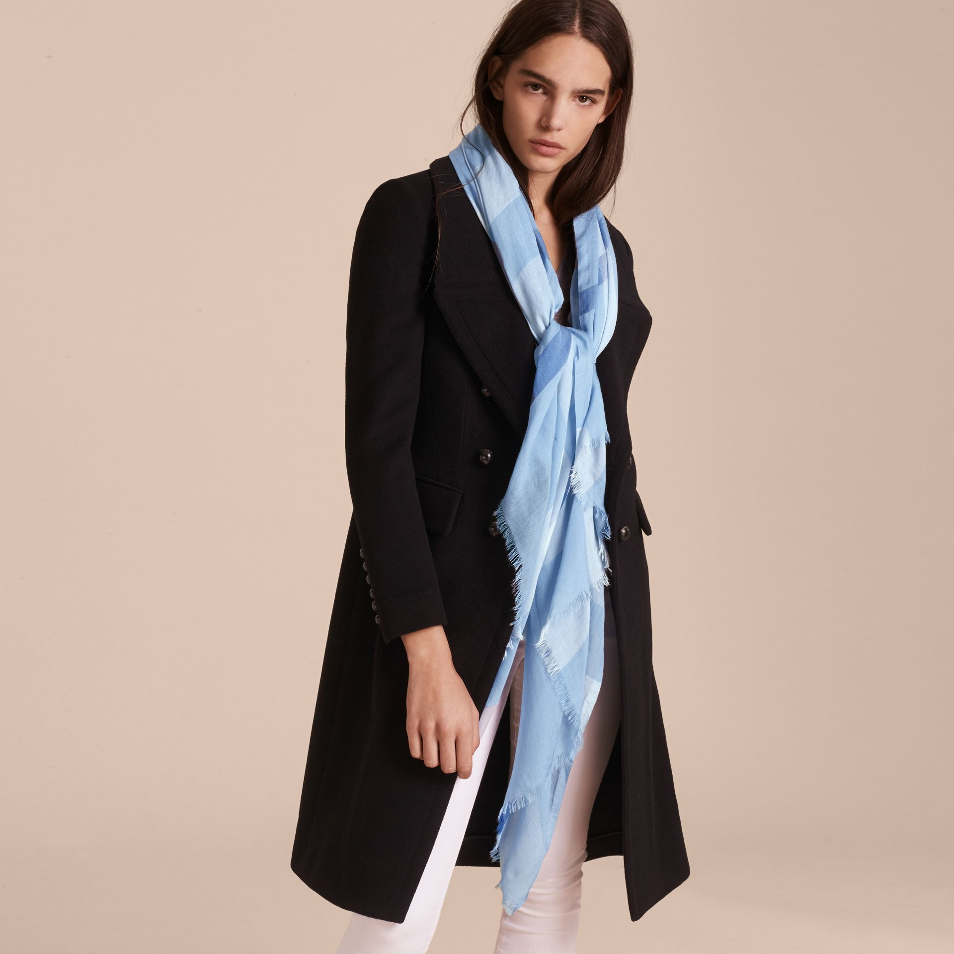 Check Modal Cashmere and Silk Scarf in Pale Blue - gallery image 3