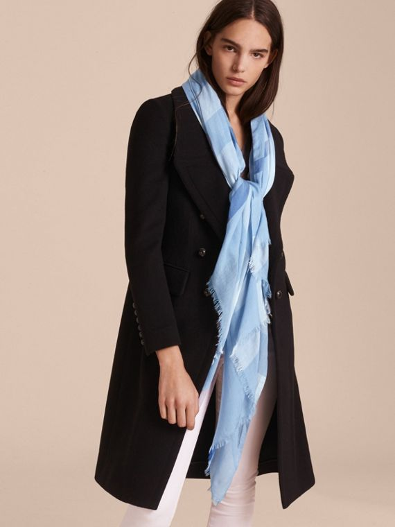 Check Modal Cashmere and Silk Scarf in Pale Blue - cell image 2